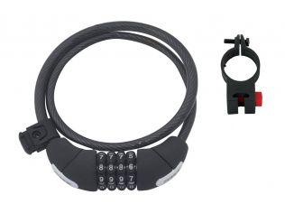Lacat Force Lux Spirala Cod 85Cm/10Mm Cu Suport Black